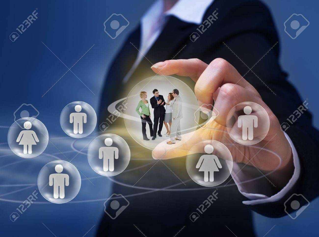 Social networking concept - with group of young people interacting - 18438207