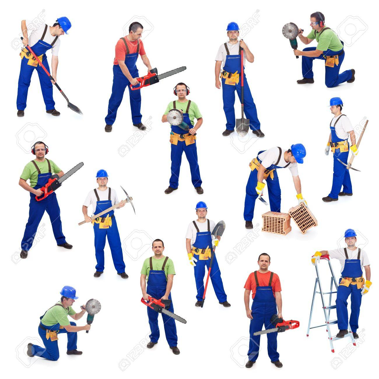 Workers from the construction industry - with various tools, isolated - 19989801