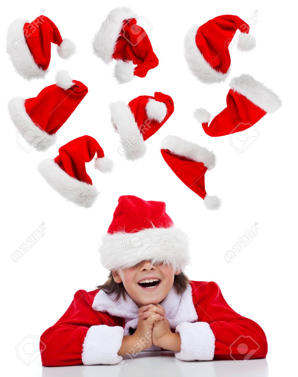 Christmas Thoughts.Happy Christmas Thoughts Concept With Santa Boy Having Fun