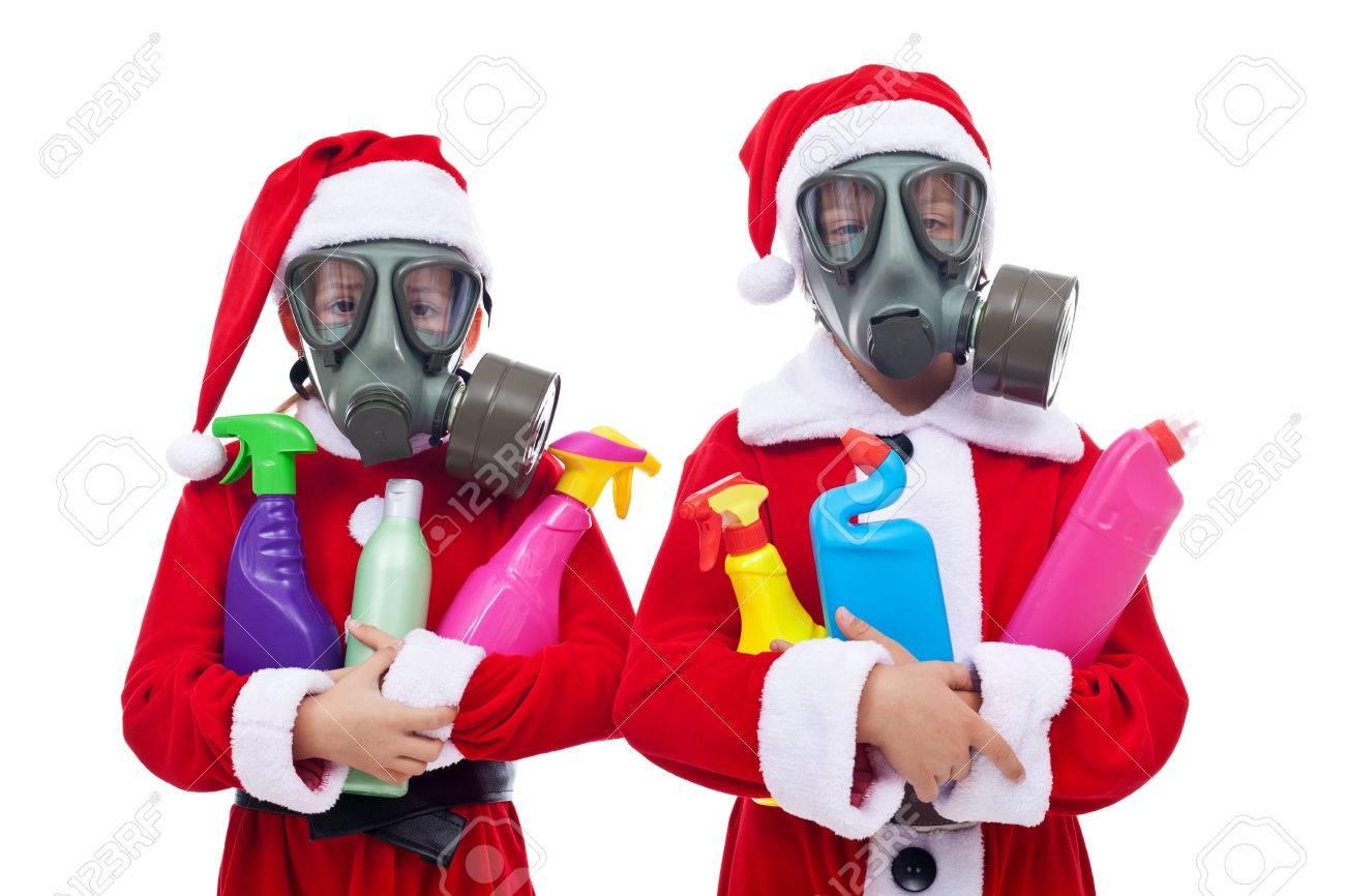 Milieu Concept Met Kinderen In De Kerst Kostuum Met Plastic Afval