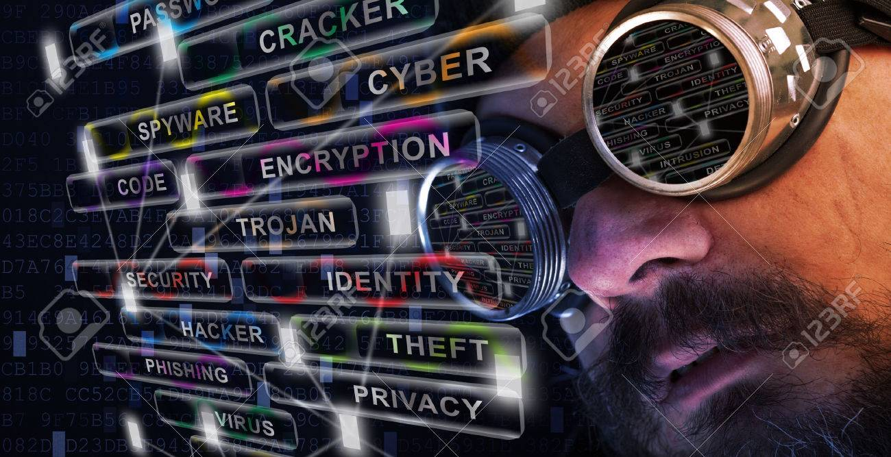 Shag beard and mustache man with goggles study cyber security related issues - 35721437