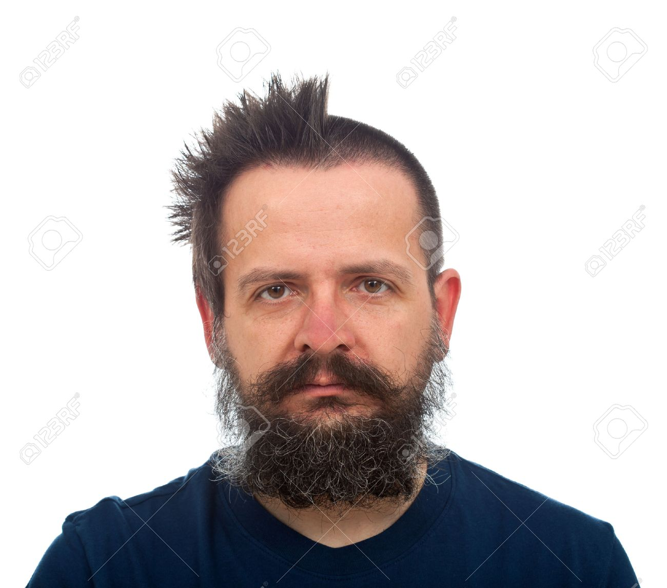 Guy With Large Beard Funny Haircut Half Punk Half Military Stock