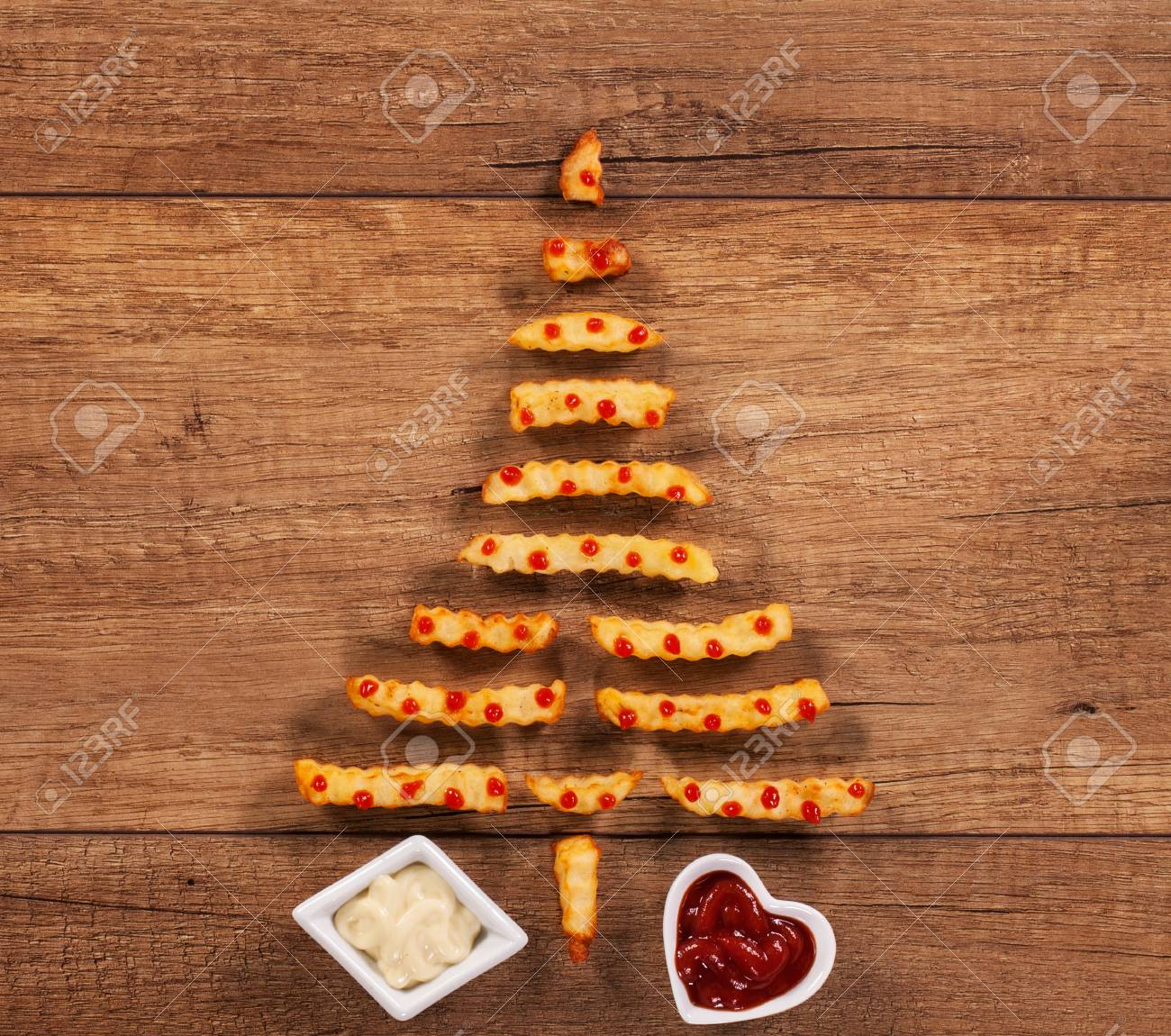 Christmas In France Food.Merry Christmas With French Fries Fast Food Xmas Tree Having