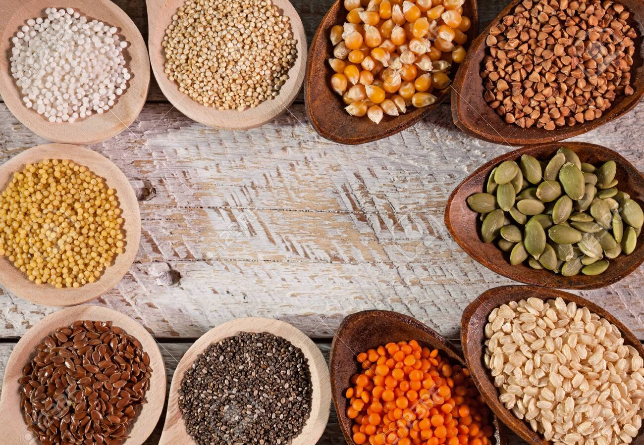 Colorful grains and seeds for the gluten free diet - copy space,