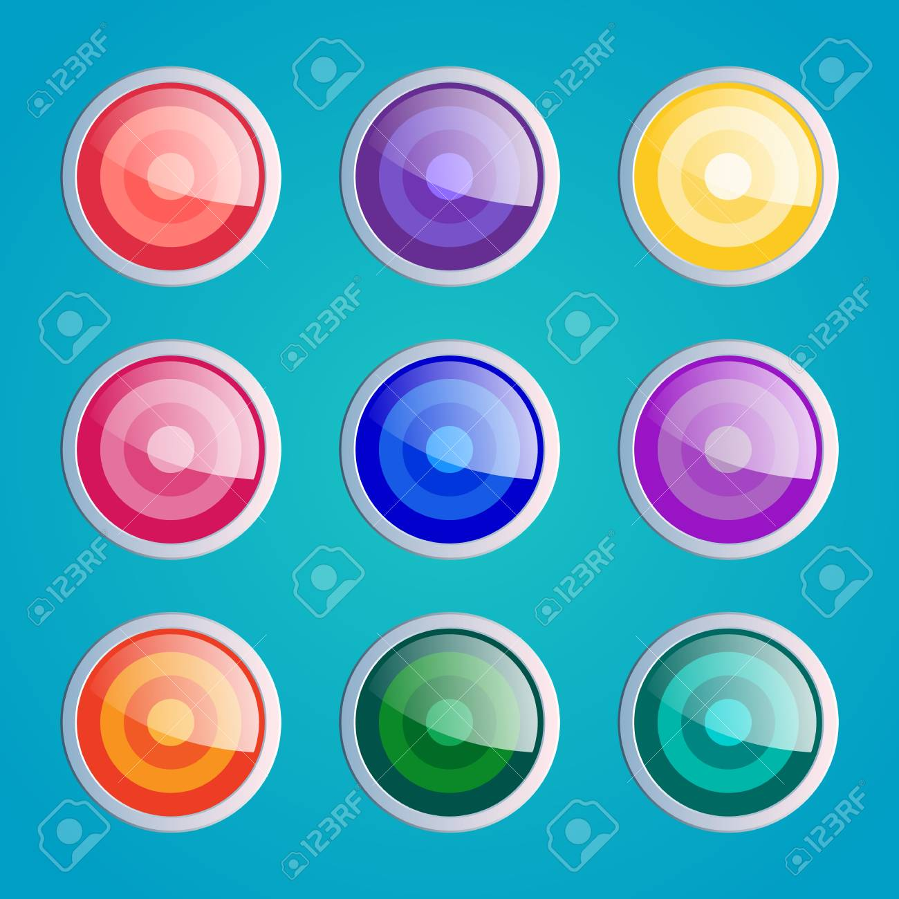 Circle Buttons Set, App Icons With Different Color Textures ...