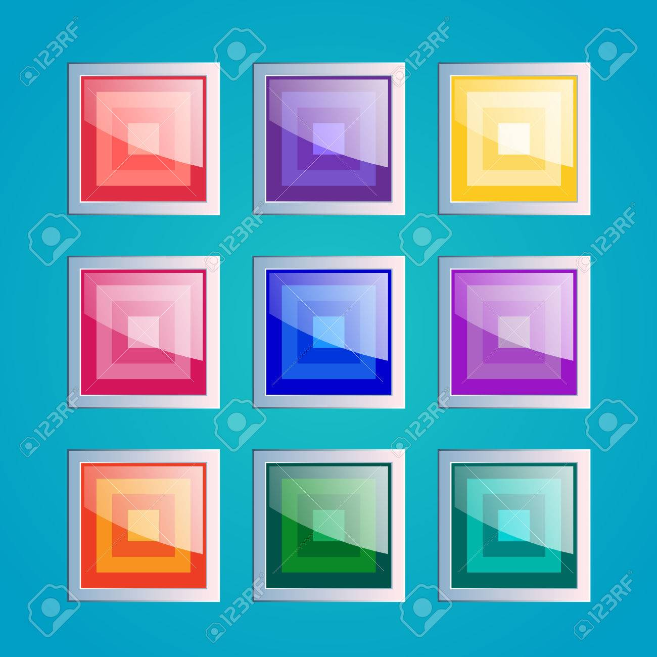 Square Buttons Set, App Icons With Different Color Textures ...