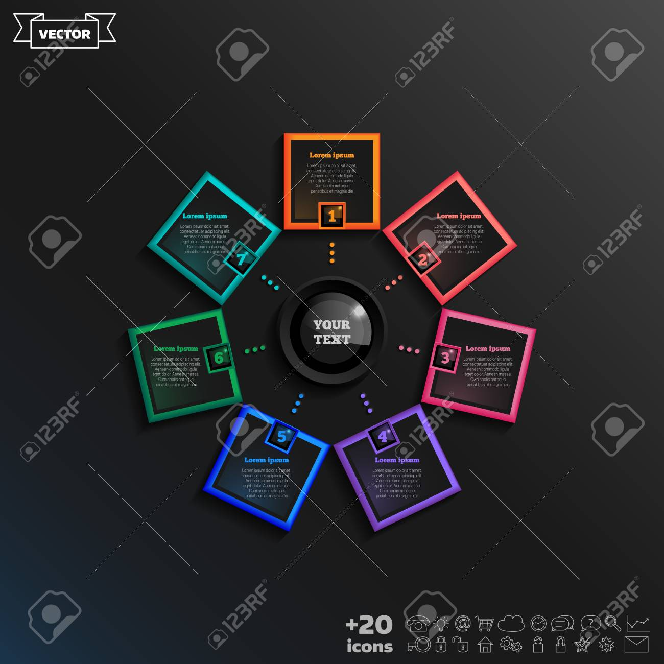 Vector infographic design with colorful square on the black imagens vector infographic design with colorful square on the black background business concept 7 options parts steps can be used for graph diagram ccuart Images