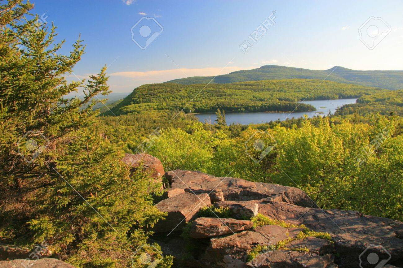 View of North-South Lake and the Hudson Valley in the Catskills Mountains in upstate New York State - 11185621