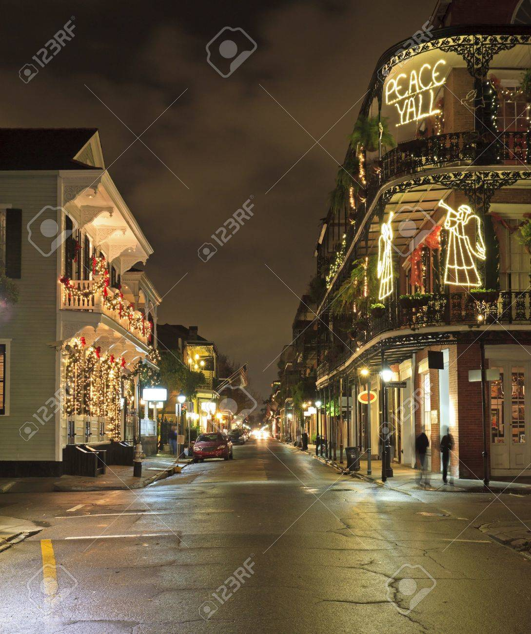 Christmas Lights on the corner of Royal and Dumaine Strrets in the French Quarter of New Orleans - 14815845