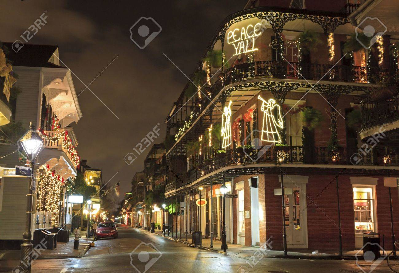 Christmas Lights on the corner of Royal and Dumaine Strrets spell out a very Southern greeting in the French Quarter of New Orleans - 14815873