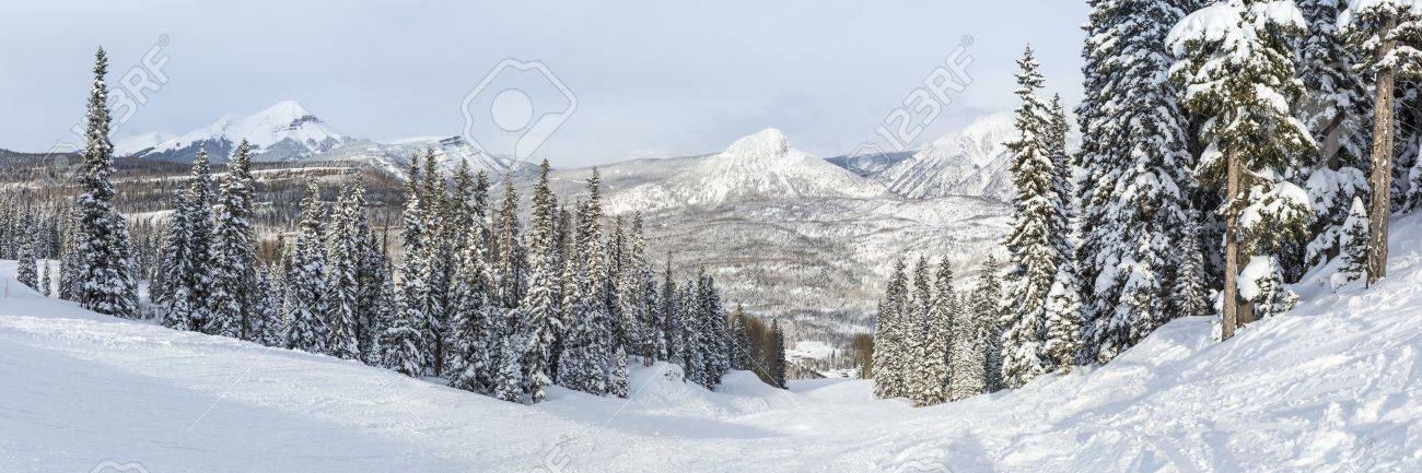 A panoramic view of the Hades run at Purgatory Ski Resort in the San Juan National Forest in Colorado. - 55032188