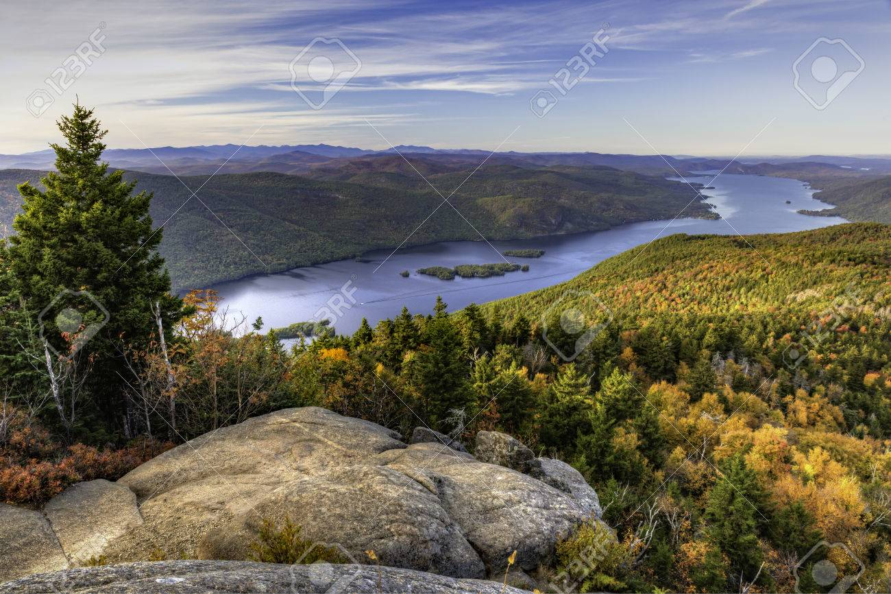 The Northern end of Lake George and the Tongue Mountain Range seen from a lookout on Black Mountain in the Adirondack Mountains of New York - 64134221