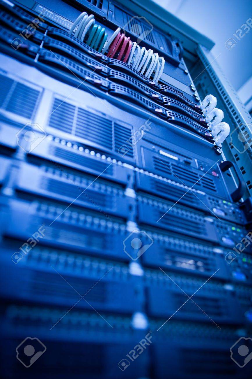 Server rack cluster in a data center (shallow DOF; color toned image) Stock Photo - 10364668
