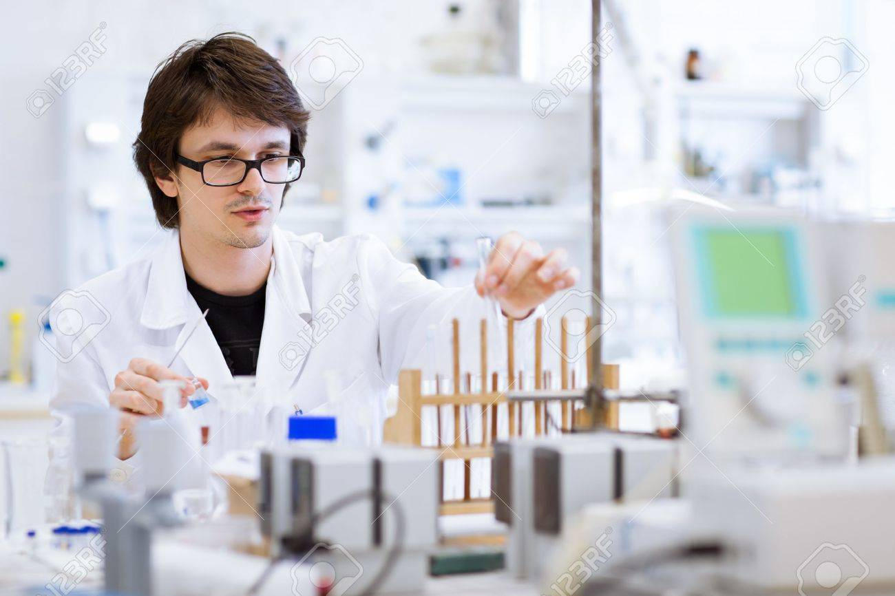 Young, Male Researcher/chemistry Student Carrying Out Scientific Research  In A Lab (shallow DOF; Color Toned Image) Stock Photo, Picture And Royalty  Free Image. Image 10895244.