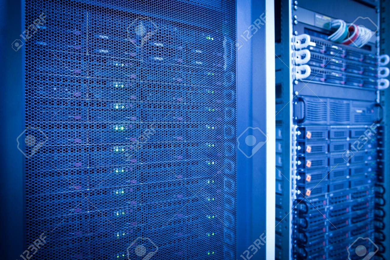 Server rack cluster in a data center (shallow DOF; color toned image) Stock Photo - 11940562