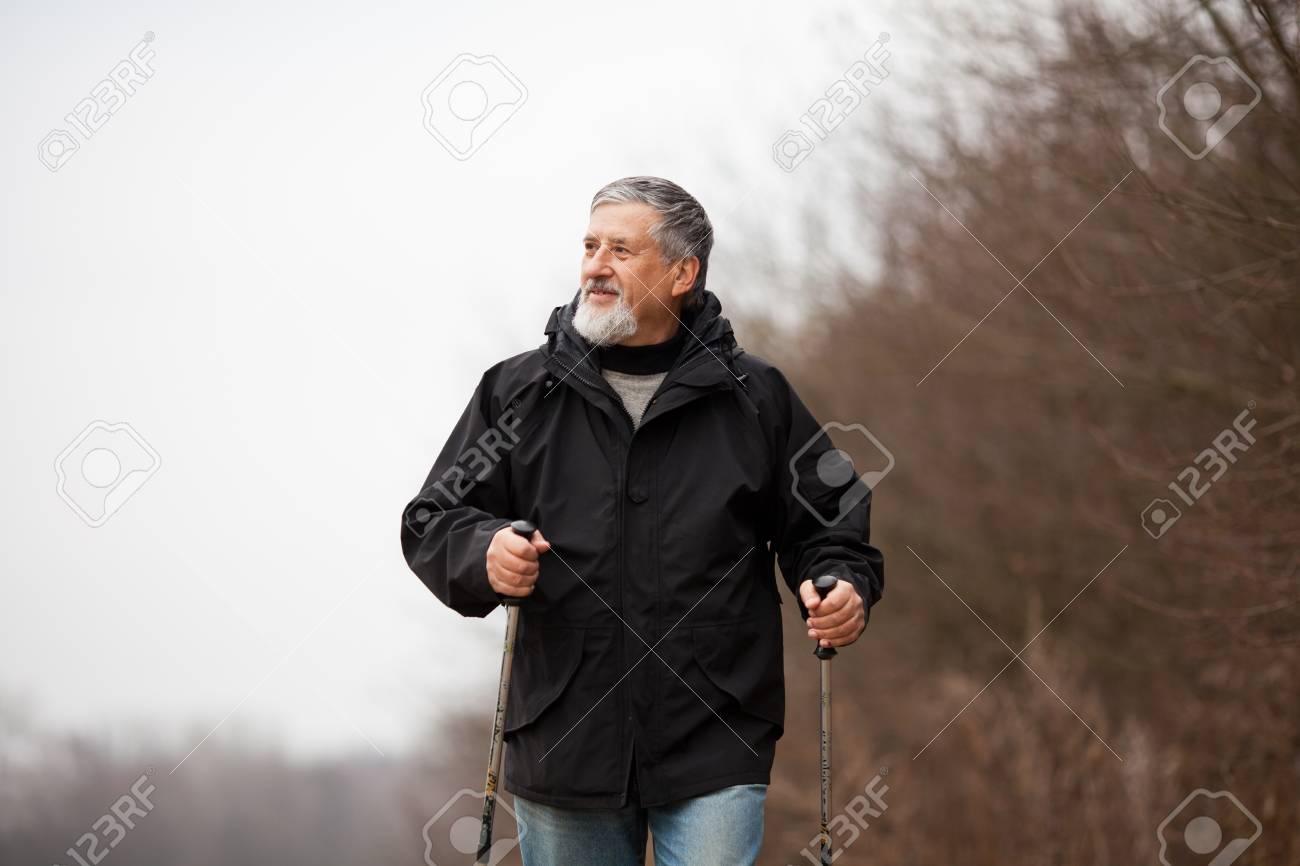 Senior man nordic walking Stock Photo - 12405604