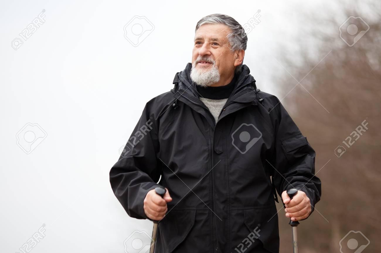 Senior man nordic walking Stock Photo - 12405460