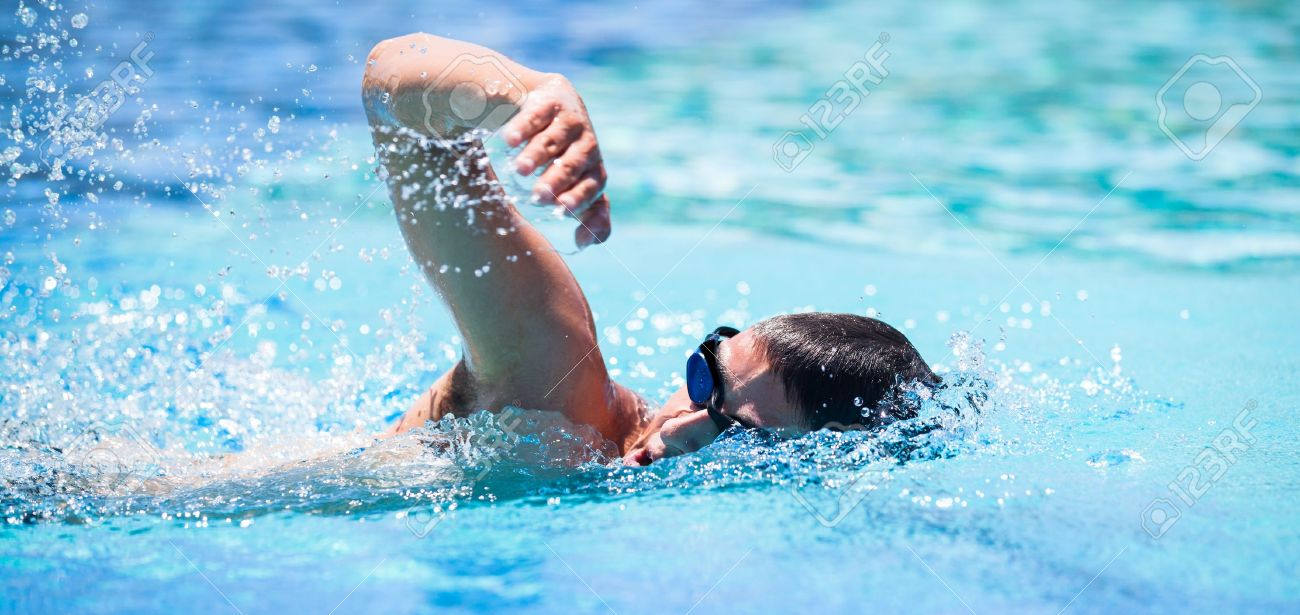 Young Man Swimming The Front Crawl In A Pool Stock Photo   14196693