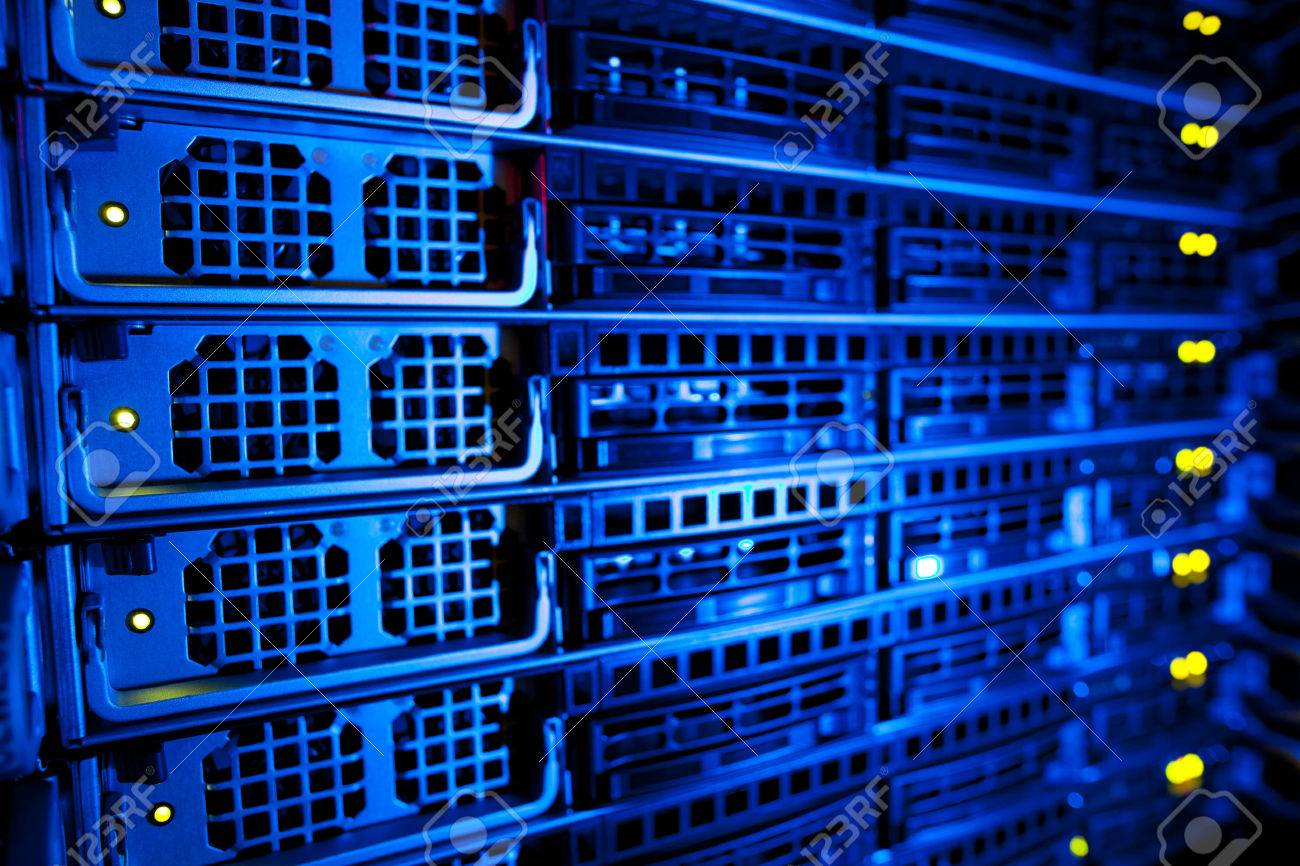 Server rack cluster in a data center (shallow DOF; color toned image) Standard-Bild - 38427494