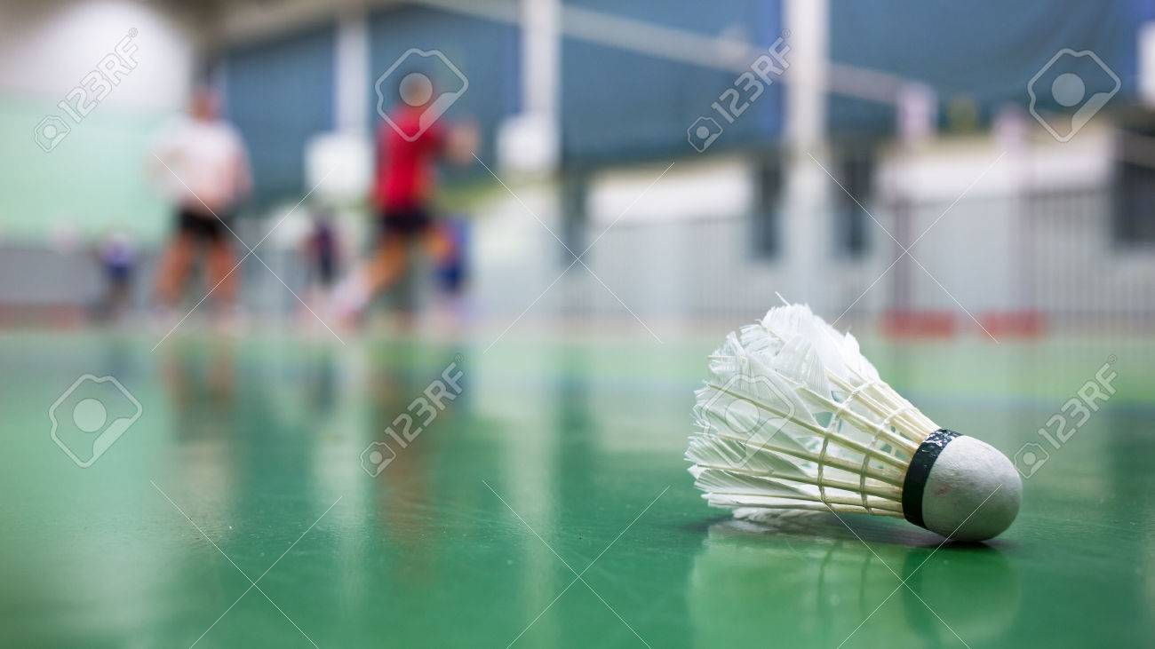 Badminton - badminton courts with players competing Standard-Bild - 41786841