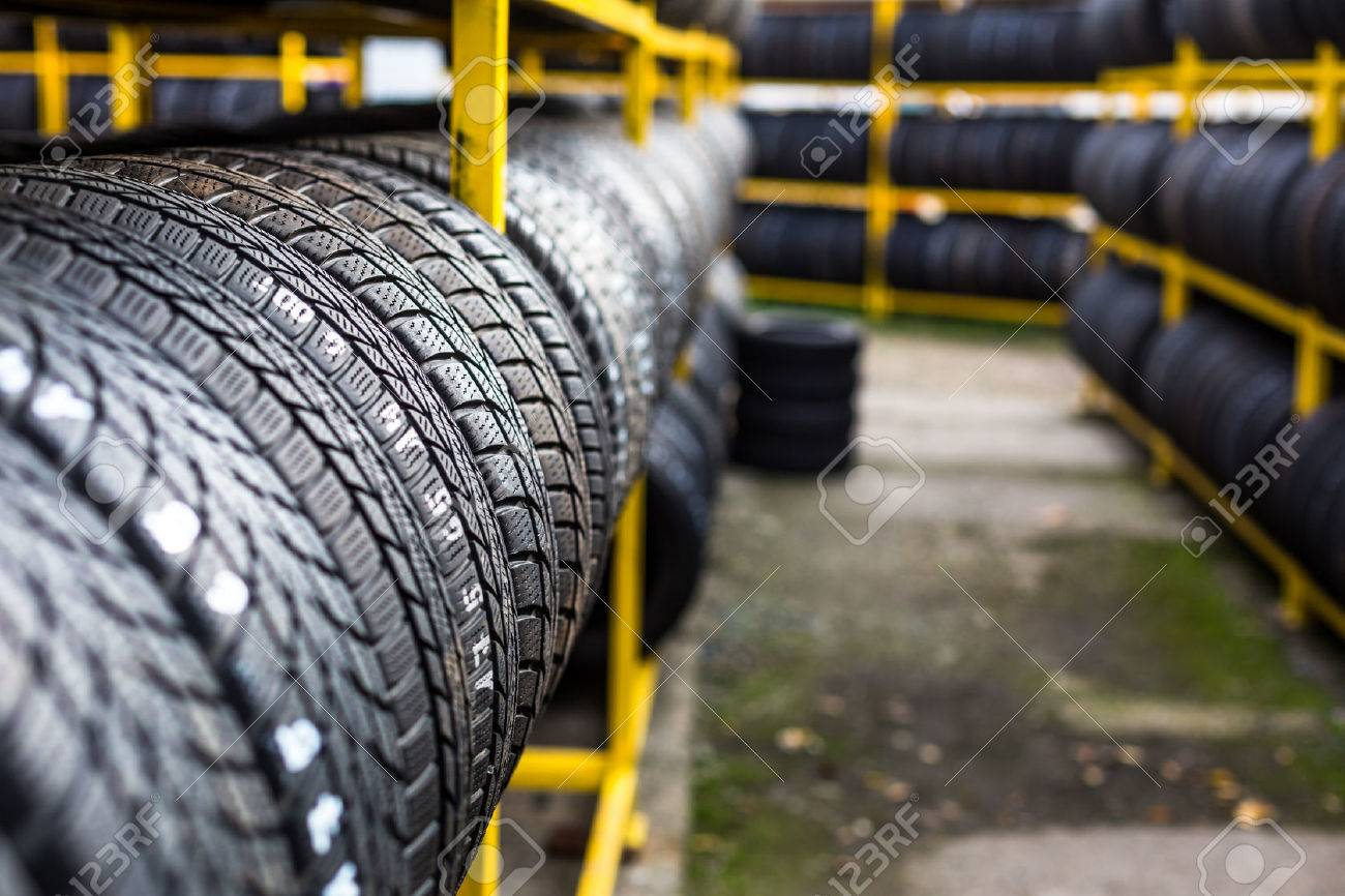 Tires for sale at a tire store Standard-Bild - 45397332