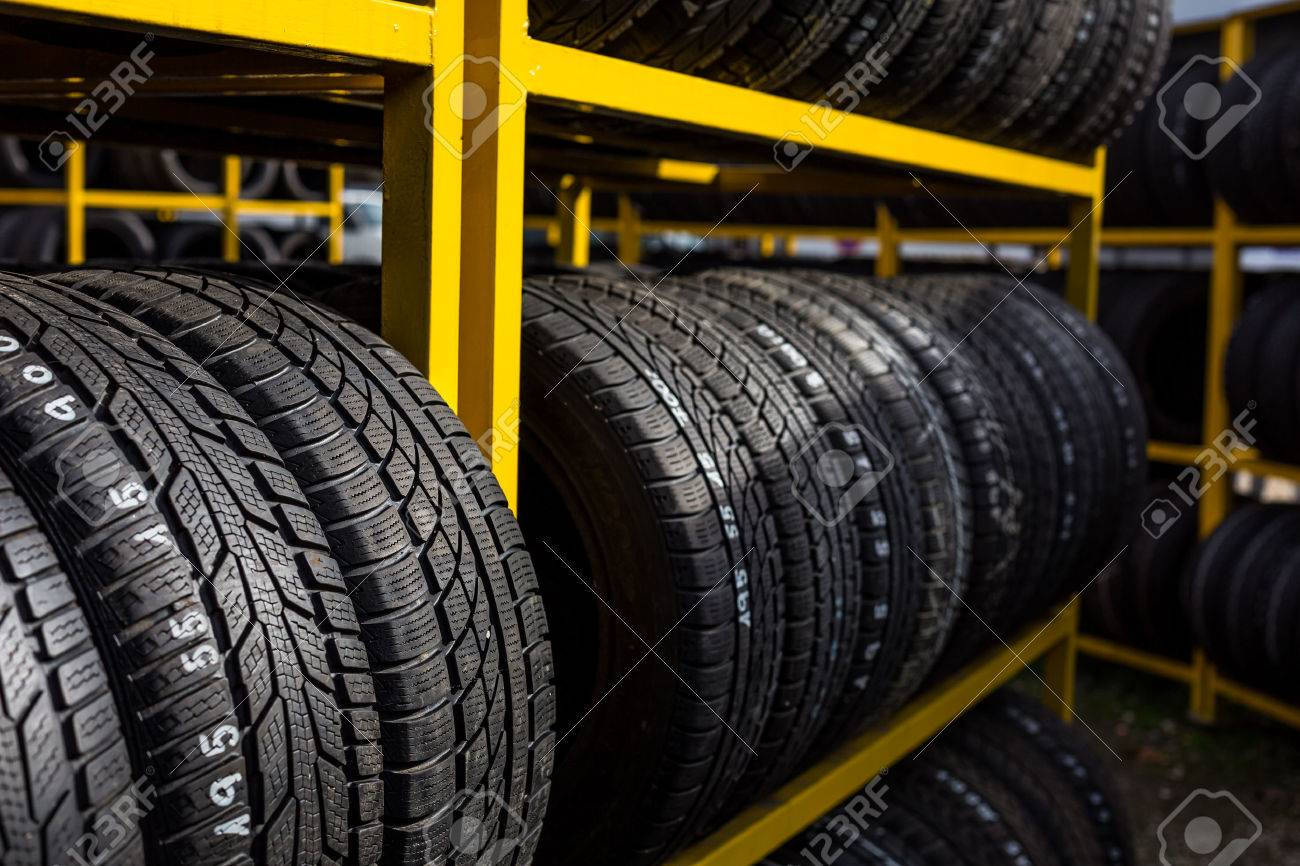 Tires for sale at a tire store Standard-Bild - 49271879