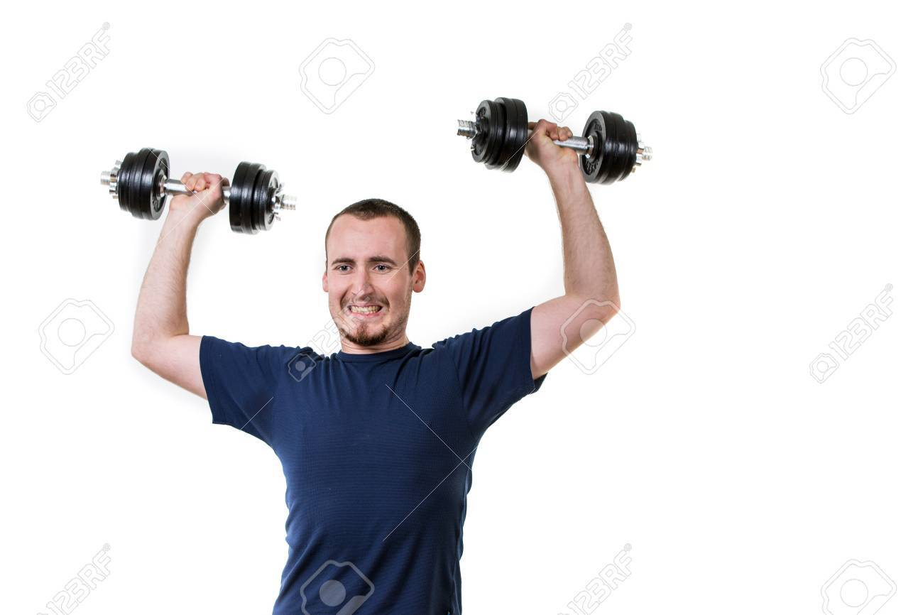 Close up of young man lifting weights over white background Stock Photo - 50111627