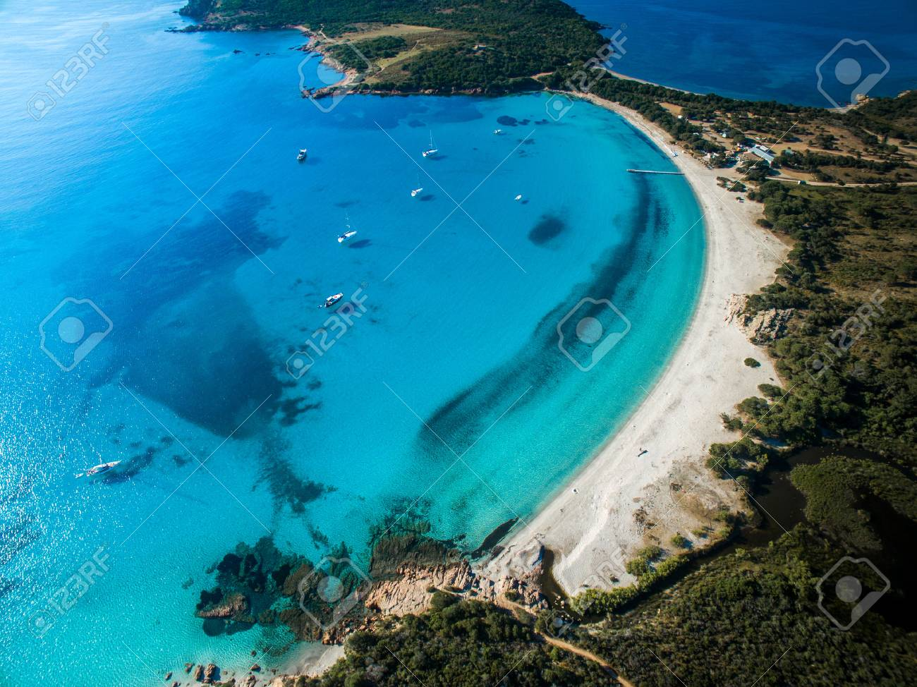 Aerial View of the Splendid Rondinara Beach, Corsica, France - 60593395