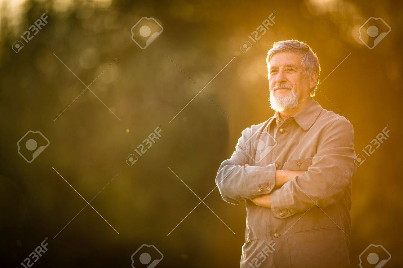 Portrait of a senior man outdoors, walking in a park (shallow DOF; color toned image) Standard-Bild - 60593352