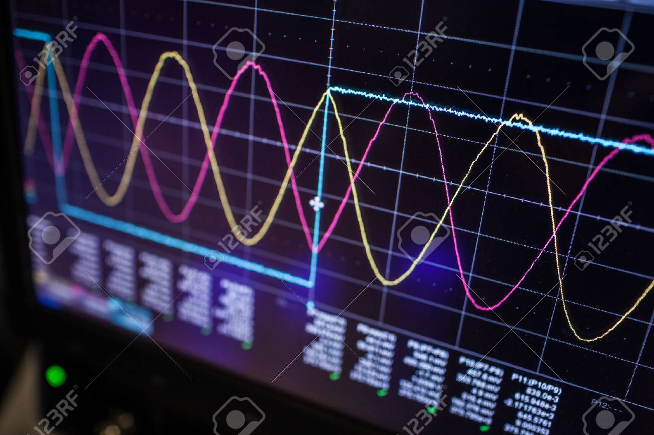 Digital oscilloscope is used by an experienced electronic engineer in the laboratory - 96398970