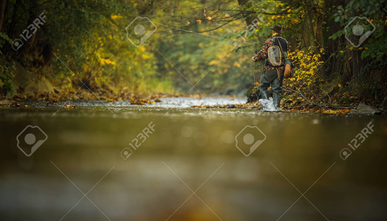 Fly fisherman working on line and fishing rod while fly fishing on splendid mountain river for rainbow trout - 134139179