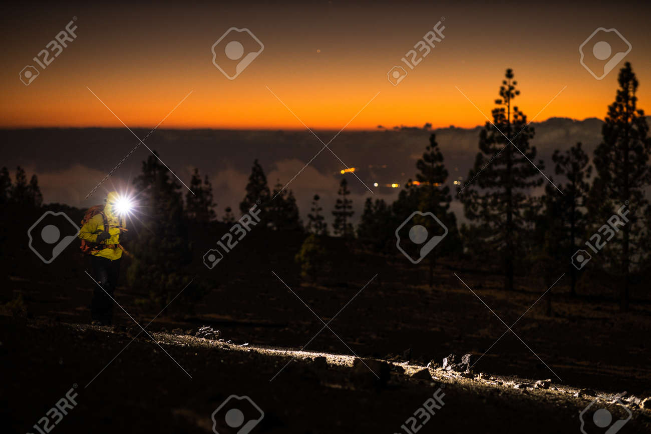 Colorful scenic landscape of moon rise in Tenerife national park of Teide. El Teide with moon rising by its side. - 171623466