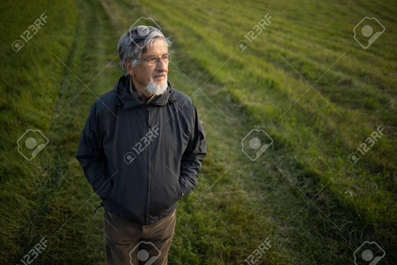 Senior man enjoying the outdoors, hiking, walking through lovely nature - 171623506