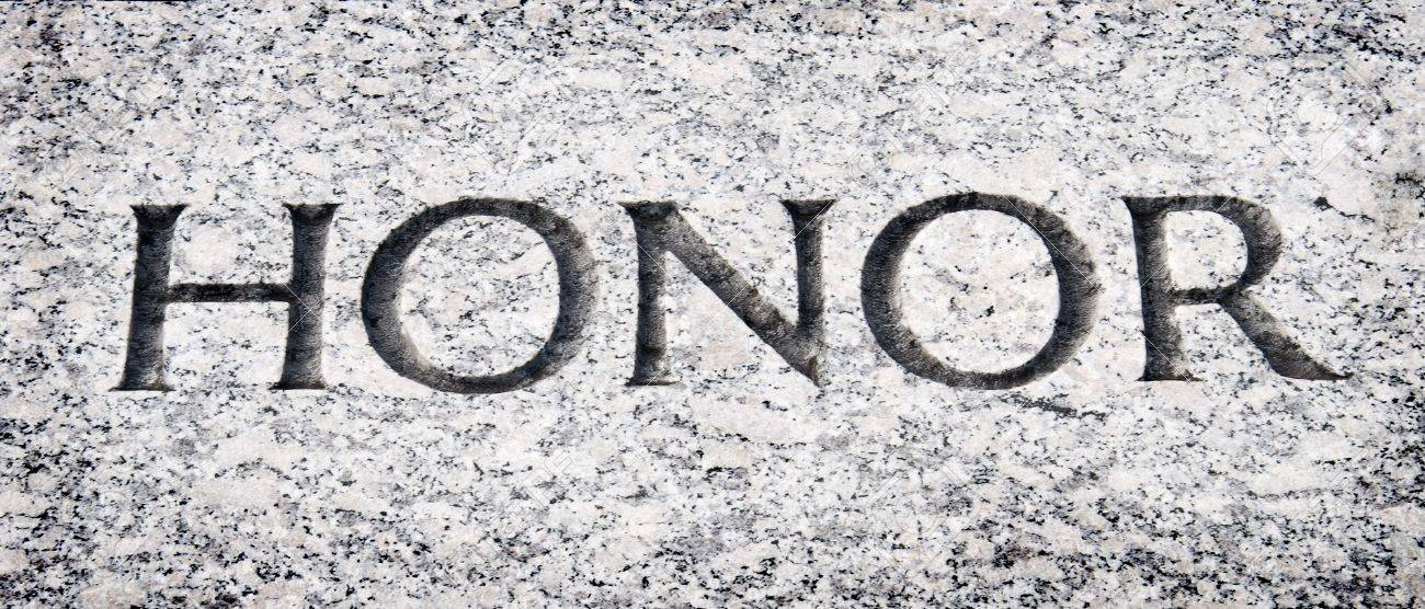 HONOR WAR (Mass Combat Rules) 7400241-The-word-honor-carved-into-stone-Stock-Photo-the