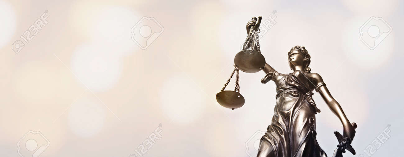 Lady justice - blindfolded figurine. Low angle view. Panoamic image wih copy space. - 162629749