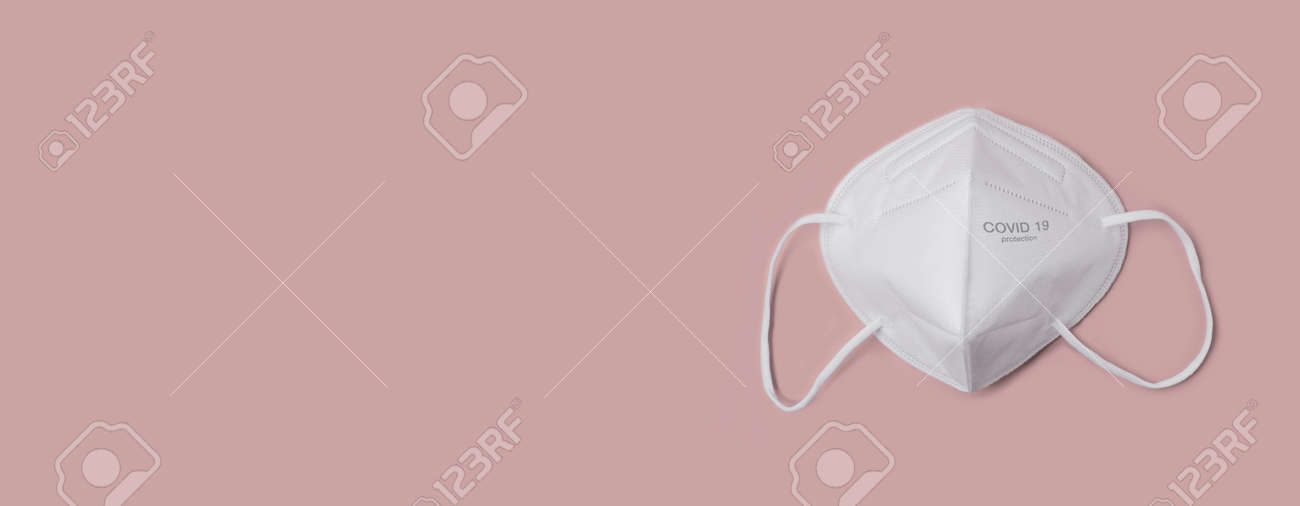 Anti virus protection mask ffp2 standart to prevent corona COVID-19 infection. Panoramic image with copy space. - 162816539