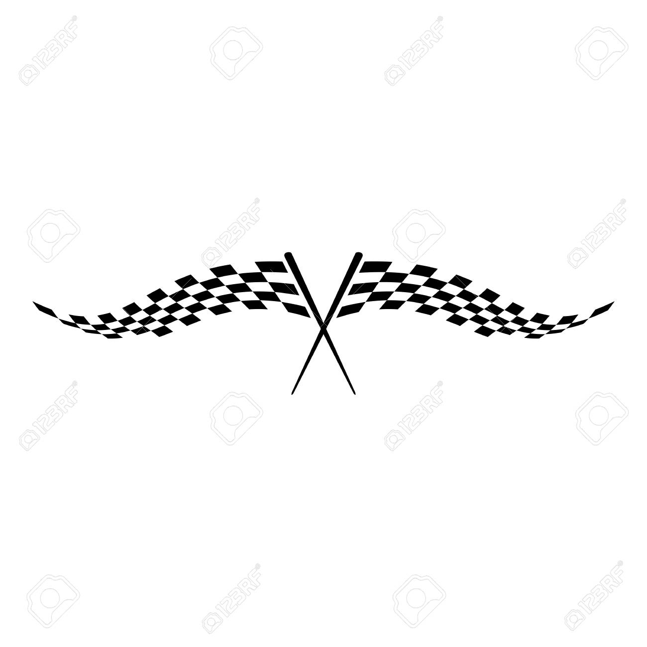 Modern Race Flag Icon Additional Simple Template for automotive
