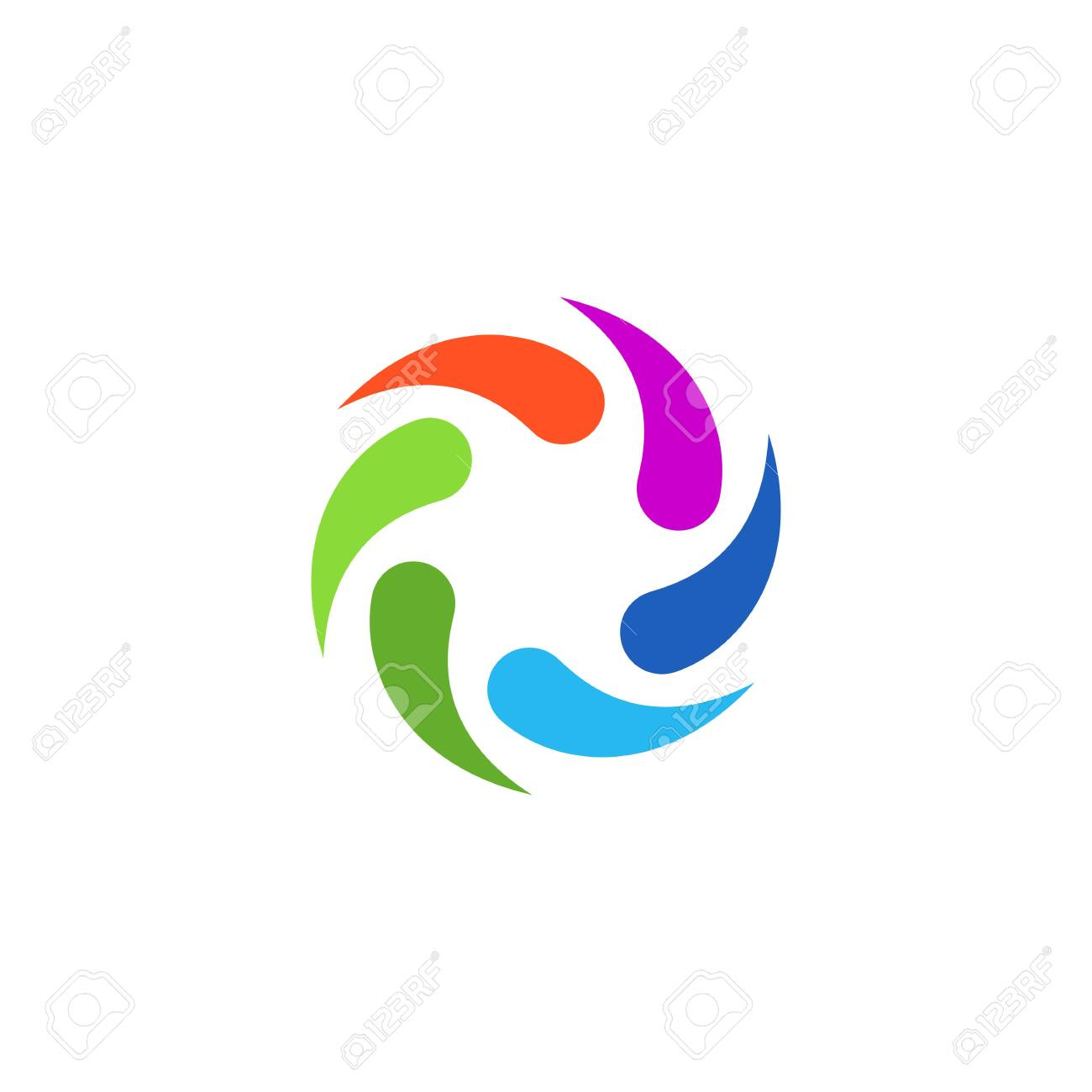 Colorful Abstract Circular Swirl Logo Round Shape For Promotion