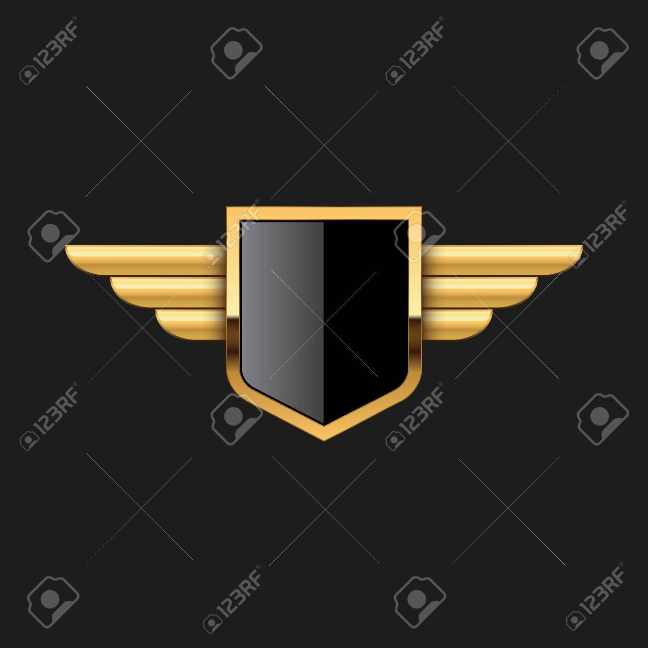 Blank Badge Shield Crest Label Armor Luxury Gold Design Element Template for logo background Card Invitations Decoration Element - 124388586