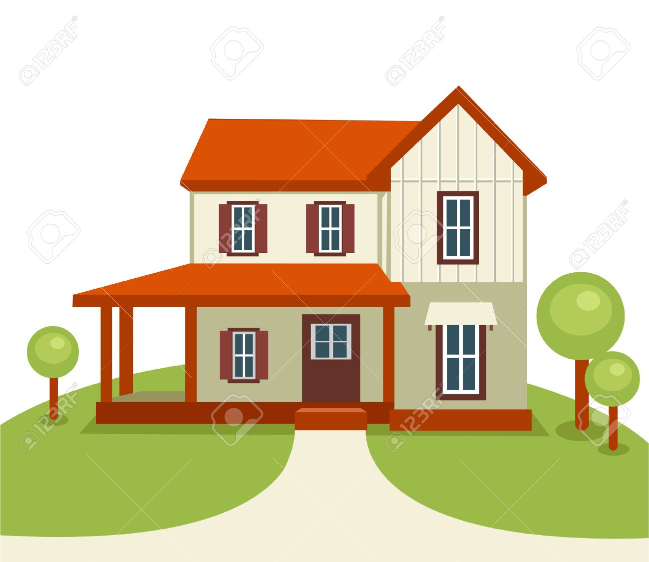 Modern house with trees and grass . Real estate or construction Stock Vector - 7933209