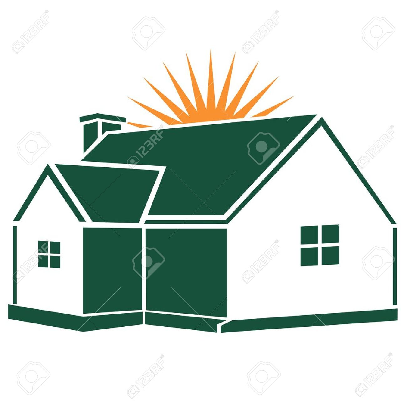 Great House / Home Design With Sunstar Isolated On White Stock Vector   9169798