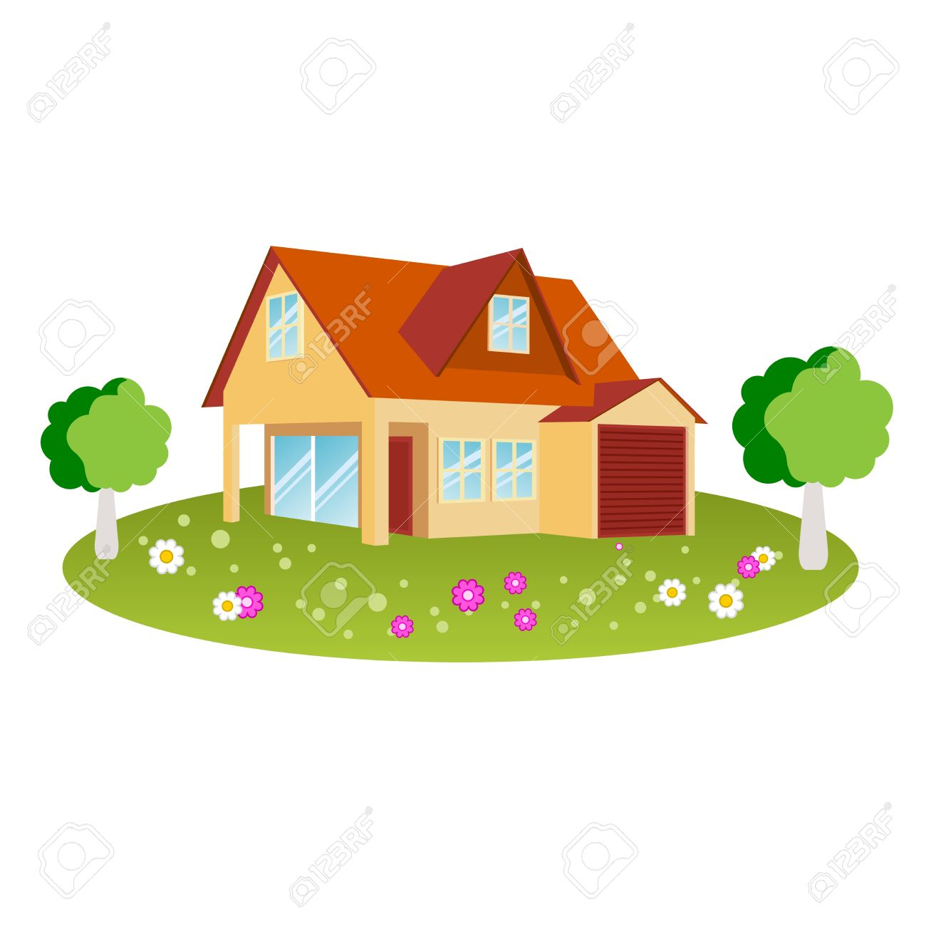House Design With Flowers And Trees Royalty Free Cliparts, Vectors ...