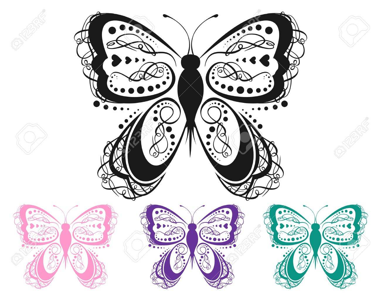 Colorful Scroll Butterfly Stock Vector - 12153302