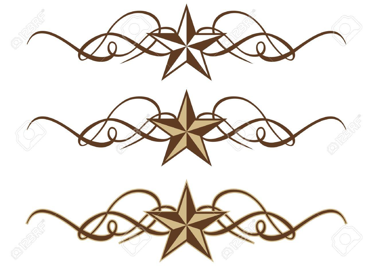 three western star scrolls in format royalty cliparts three western star scrolls in format stock vector 15820810
