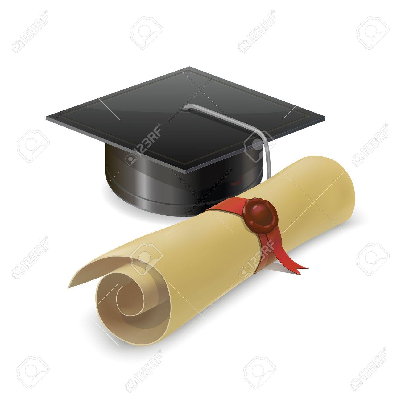 Ilustración De Tapa De Graduación Con Diploma Birrete Aislado En El Fondo Blanco