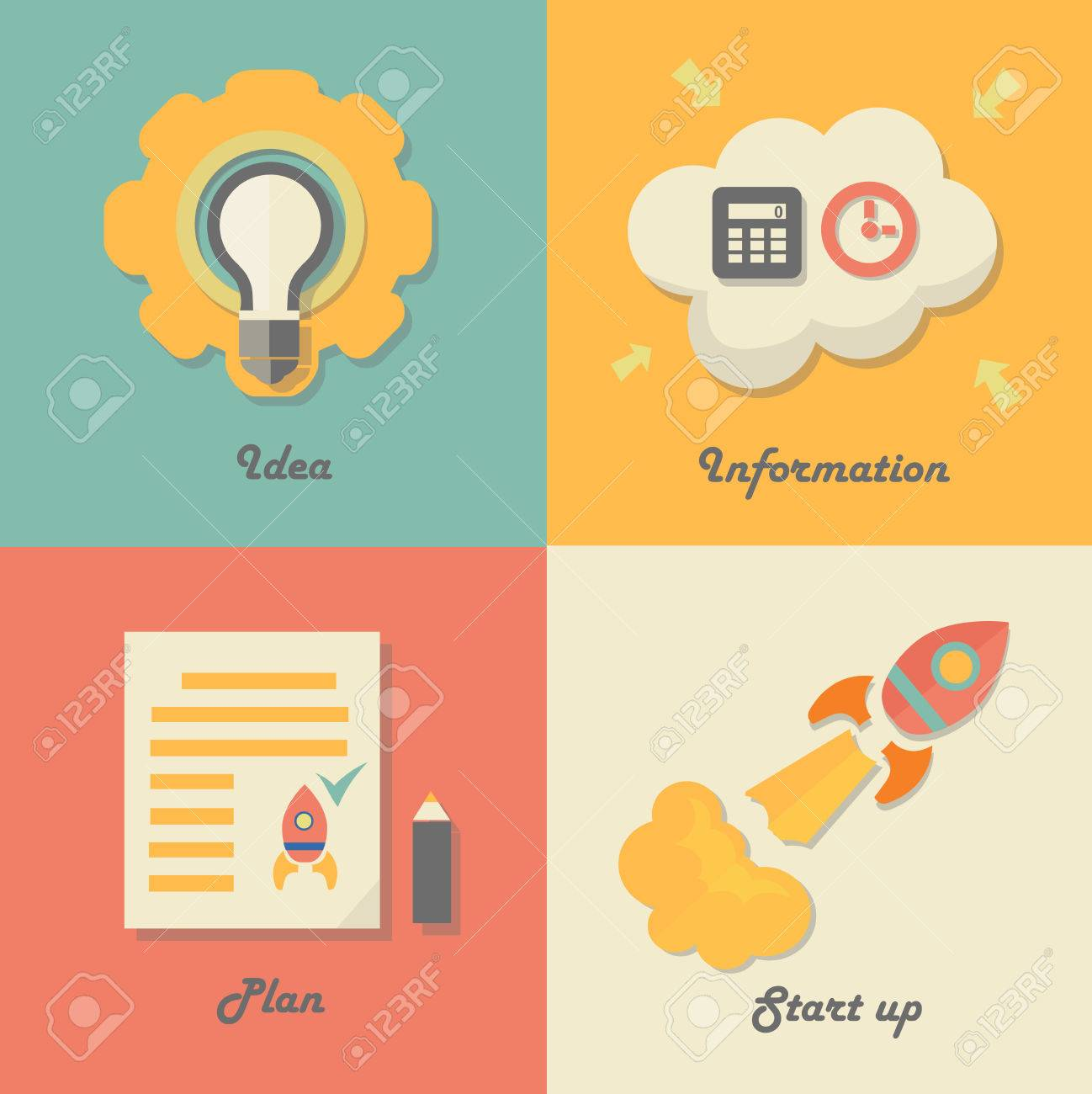 illustration set of start up icons for new business ideas innovation and information rocket and paper flat design vector illustration - Graphic Design Business Ideas