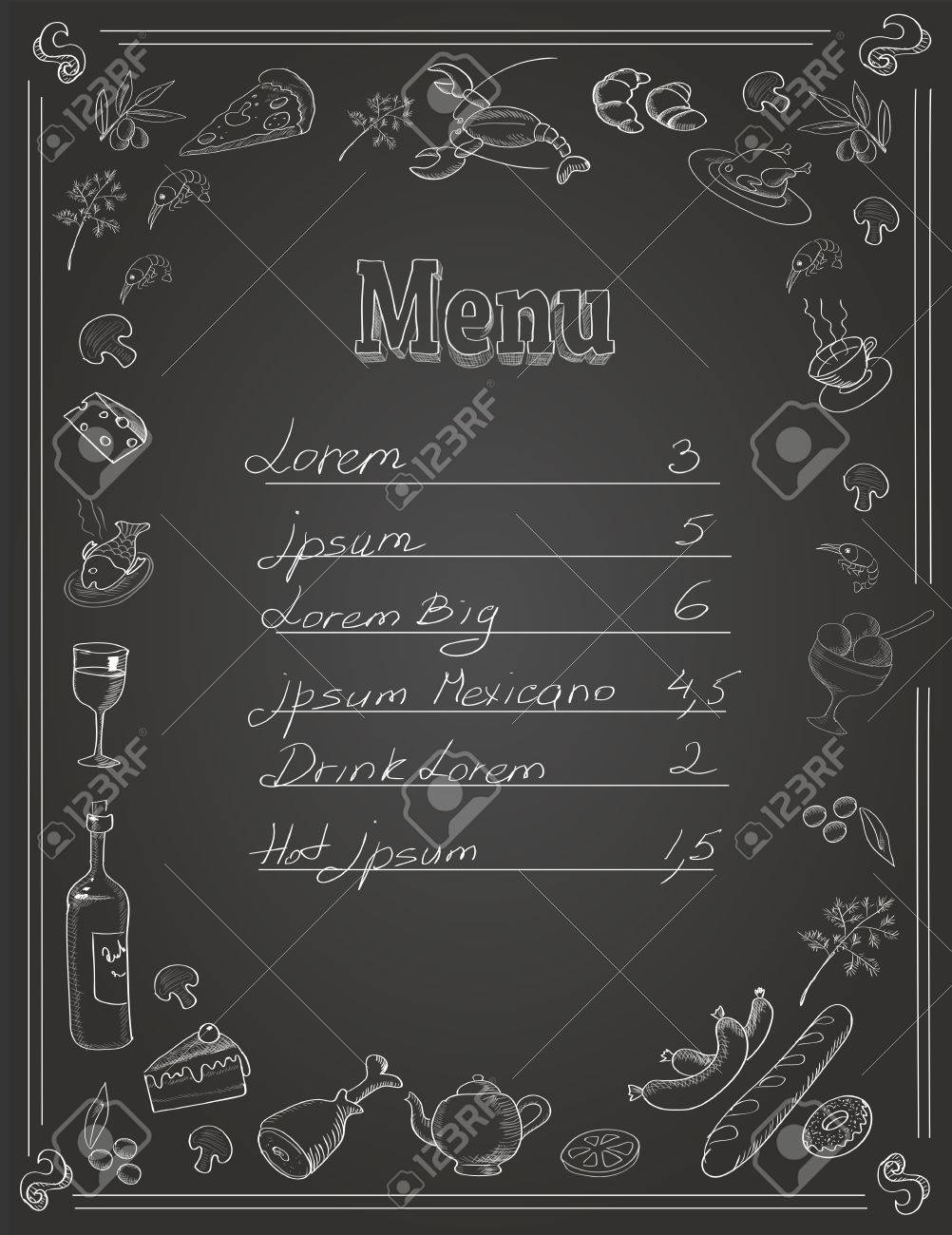 restaurant food menu design with chalkboard background and place