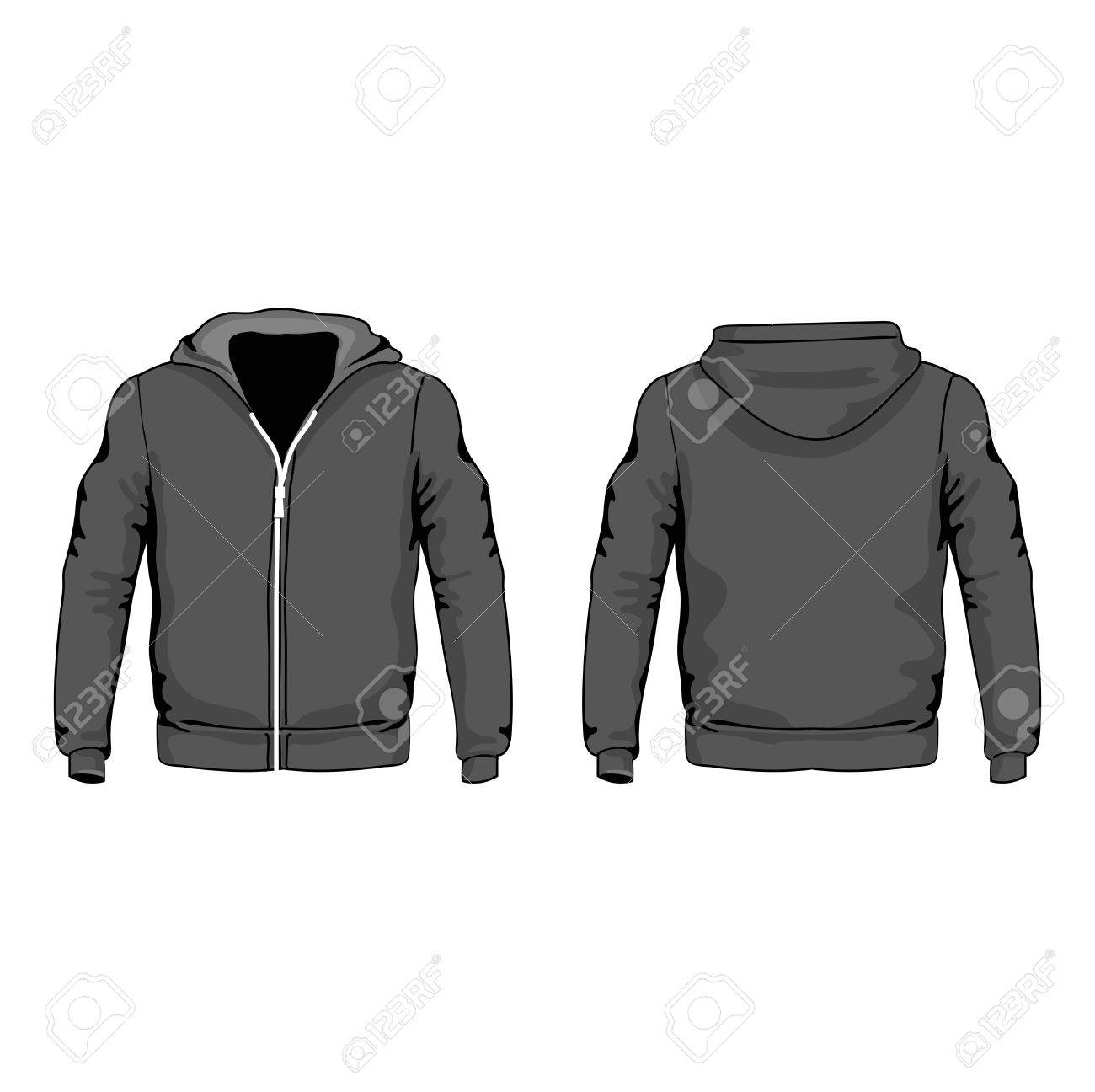 Men S Hoodie Shirts Template Front And Back Views Vector Royalty ...