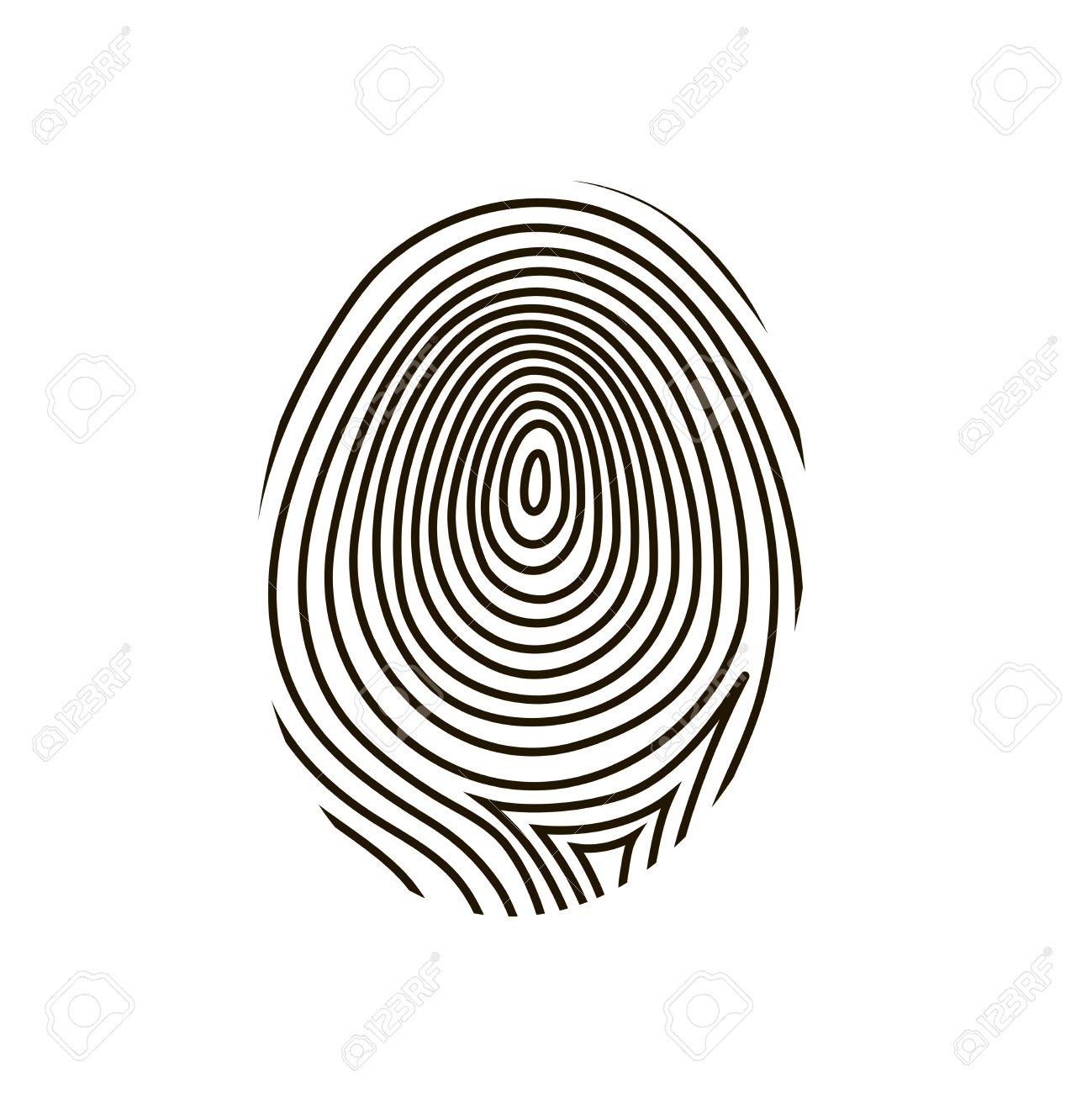 Schwarze Zeichnung Vektor Fingerabdruck Auf Weißem Hintergrund ...