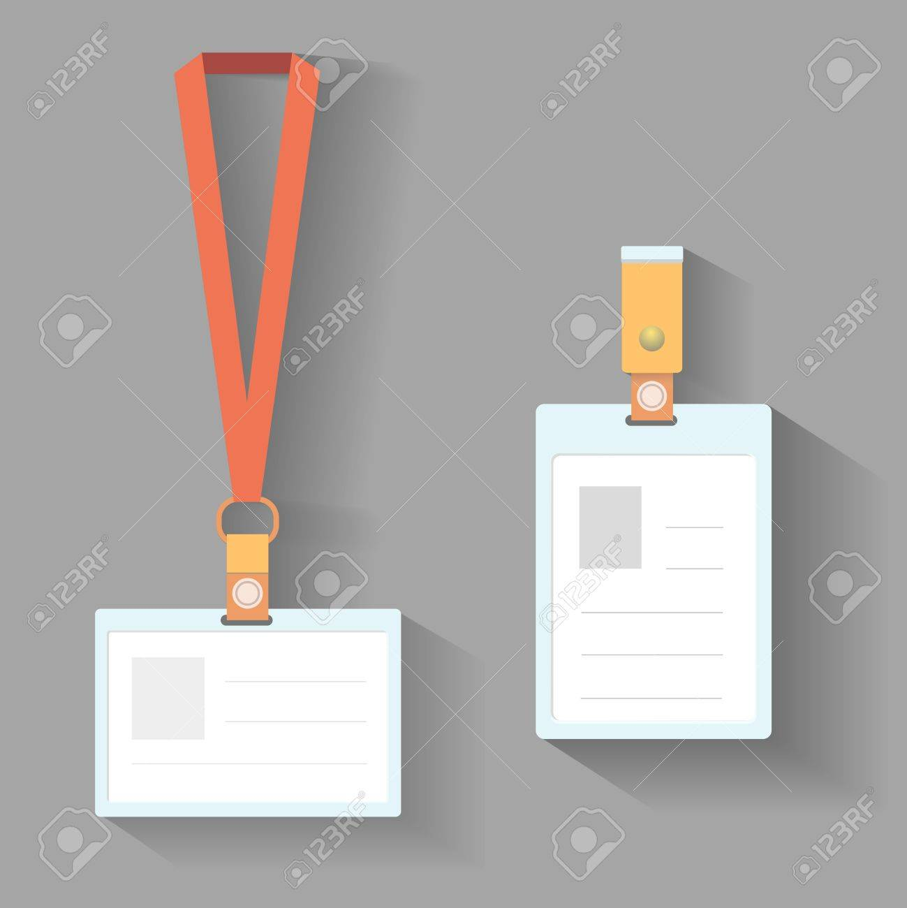 Lanyard Badges Template Flat Design With Shadow Stock Photo, Picture ...